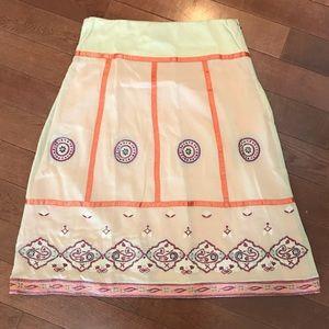 Anthropologie Persaman Peach Embroidered Skirt